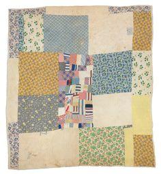 "Martha Pettway, Blocks with ""Crazy Quilt"" medallion, 1930s, Cotton, 85 x 76 inches"