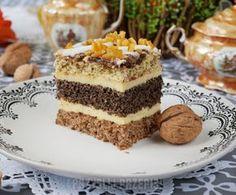 Ciasto orzechowo - makowe z serem gotowanym Good Food, Yummy Food, Polish Recipes, Tiramisu, Biscotti, Cheesecake, Food Porn, Food And Drink, Cooking Recipes