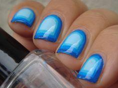 nail loopy: Blue gradient framed mani.