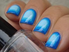 nail loopy: BLUE GRADIENT FRAMED/ BORDER NAILS