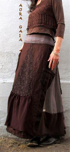 AuraGaia EVA~ Bustleback Skirt w Rear Ruffs Poorgirl Upcycled XS-XL