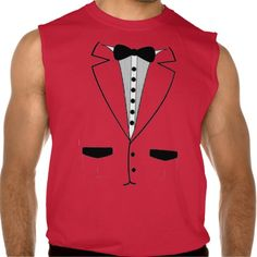 Red Retro Tuxedo Sleeveless Shirt Tank Tops