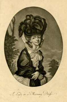 A woman in fashionable dress and high feathered hat, in an oval. 1770s Mezzotint British Museum 1871,1209.1004