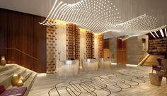 Intourist Hotel, Baku Azerbaijan - mkv design. glass ceiling lighting, modern hotel lobby