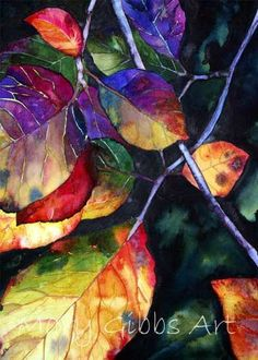 Mary Gibbs is a self-taught artist with a life-long interest in art. Her watercolors are uniquely realistic, using bright colors to catch the viewer's eye, from vivid foliage and floral, to architecture and domestic cats. Art Watercolor, Watercolor Leaves, Mary Gibbs, Arte Pop, Arte Floral, Leaf Art, Silk Painting, Eye Painting, Art Techniques