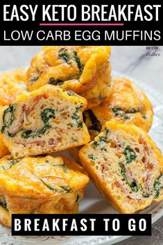 Easy Keto Breakfast Muffins Recipe This easy low carb ketogenic breakfast recipe is perfect for busy mornings! Make these egg muffins ahead of time for a delicious on the go keto breakfast or low carb high fat snack! #keto #ketogenic #ketorecipes #lowcarb #breakfast