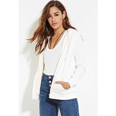 Forever 21 Forever 21 Women's  Zippered Plush Hoodie ($20) ❤ liked on Polyvore featuring tops, hoodies, zipper hoodie, zippered hooded sweatshirt, white zipper hoodie, zipper hoodies and hooded pullover