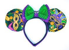 Mardi Gras Mouse Ears  New Orleans Square by WisheryEarMakers #mardigras #fattuesday #neworleansquare #neworleans #minniemouseears #portorleans #frenchquarter #POR #PORFQ