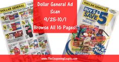 Another NEW Ad Scan! Dollar General Ad Scan for 9/25 to 10/1/16 ~ ALL 16 PAGES Click the Picture below to BROWSE all 16 Pages of the ACTUAL Dollar General Ad Scan for 9/25 to 10/1/16 ► http://www.thecouponingcouple.com/dollar-general-ad-scan-for-9-25-to-10-1-16/  Want us to Post these EARLY Advanced Ad Scans Every Week? If so leave a comment below and let us know AND It would REALLY HELP us out if you would take a second and Use the SHARE buttons below the Picture to SH