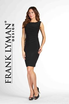 Frank Lyman Dress with side zipper and flattering starbust. Available in black and marine. Proudly Made In Canada