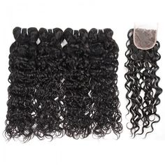 One More Hair Products Malaysian Virgin Hair Water Wave 4 Bundles With Closure 4*4 Free Part Middle Part 3 Part Lace Closure And Unprocessed Natural Wave Human Hair Bundles.No Shedding No Tangle Free Shipping.