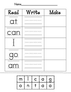 This worksheet was created to align with the sight words or high frequency words commonly found in level A text.  Students read the word, write the word, and then make the word by gluing letter tiles.  Enjoy!