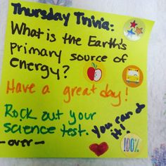 #Superkiddo's #Thursday #trivia is an #Earth #science question in honor of @stationcdrkelly's return #lunchnotes #packsunshine by justjeanae