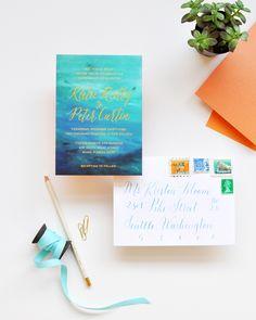 Ocean-Inspired Watercolor Gold Foil #Wedding Invitations