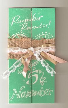 Definitely want to do homemade invites! Wedding Stuff, Our Wedding, Dream Wedding, Homemade Invitations, Invites, Wedding Invitations, Burlap Lace, Vintage Country, Wedding Designs