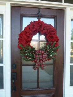 Red Burlap Christmas Wreath, Red Burlap Holiday Wreath, Red Christmas Wreath, Holiday Wreath, Burlap Wreath, Traditional Christmas Wreath by MySweetSouthernHome on Etsy https://www.etsy.com/listing/213410167/red-burlap-christmas-wreath-red-burlap