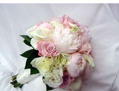 lisianthus hydrangea pale pink bouquets wedding - Google Search