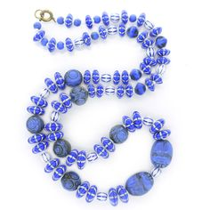 Vintage Art Deco Neiger Brothers Glass Scarab Egyptian Revival Blue Glass Bead Necklace | Clarice Jewellery | Vintage Costume Jewellery