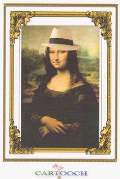 Mona Lisa con sombrero Panamá Hat por Cartooch