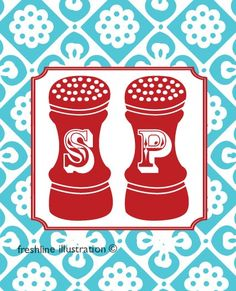 Teal and red inspiration: salt and pepper shaker print.