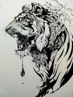 schwarz weiße zeichnung, tiger, tattoovorlage, vorlage