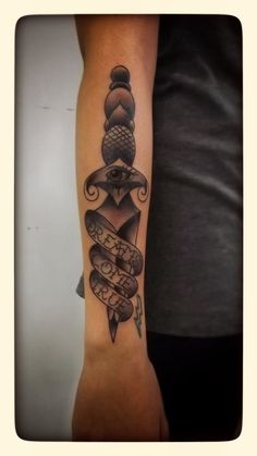 Traditional dagger tattoo