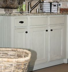 Chalk Painted Kitchen Cabinets: country gray