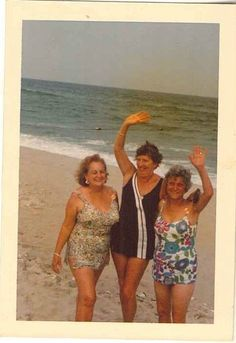 Vintage Photograph Three Older Women Wearing Bathing Suits on the Beach