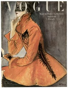"""What a jacket! Cover of """"Vogue"""" Magazine, October 1947 by fashion illustrator René R. Bouché (1905-1963). via the style agenda"""