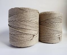 3 mm linen cord, 1/8 in macrame rope - 3 strand twisted linen macrame rope - 100 % natural macrame rope from EU. - 2x1,5 kg twisted linen cord - color - gray, natural linen color (in photos looks like brown,but its more gray) - total about 690 m linen cord length for DIY projects