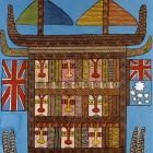 This is the Ship Belonging to Captain Cook When He Came to Australia (Dispela Em Sip Bilong Kiapten Kuk ikam Austrelia), 1999  Mathias Kauage, Papua New Guinea  acrylic on canvas  2004.136  Melanesia  This artwork is from the Denver Art Museum's Oceanic Collection.