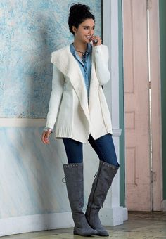 Stylish By Nature | Create a versatile look with our mixed media waterfall cardigan and back lace up over the knee boots. Wear a chambray shirt  and skinny jeans with them for a touch of vintage flair.