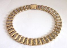 VINTAGE 80 S CHUNKY SILVER TONE & GOLD TONE COLLAR PANEL STATEMENT NECKLACE