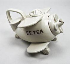 Fitz and Floyd Airplane Teapot Vintage 1978