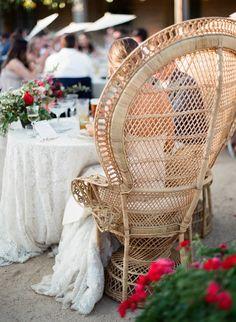 Boho Peacock Chair: Santa Barbara Wedding — by Midtown Design & Events {photography by megan sorel} Wedding Table Settings, Wedding Chairs, Fine Art Wedding Photography, Event Photography, Wedding Ideas Board, Wedding Inspiration, Wicker Peacock Chair, Boho Chic, Bohemian
