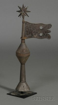 Tin Finial with Star and Flag, America, late 19th century, including stand, ht. 21 in.