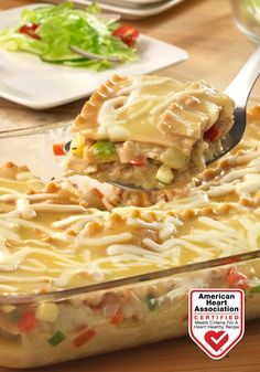 Creamy Turkey & Vegetable Lasagna — Whole grain noodles, a creamy soup mixture and a scrumptious combination of ground turkey, fresh veggies and mozzarella cheese are layered to create fantastic lasagna that's loaded with flavor.  Heart-Check Certification does not apply to recipes or information reached through links unless expressly stated.