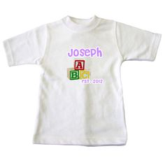 £7.49 Personalised Babies Blocks Est. Date T shirt