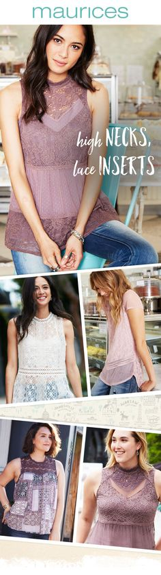 Shop the newest trend in tops – high necks with lace inserts. These tops can dress up any occasion with their vintage touches & classic style. Shop them now on maurices.com!