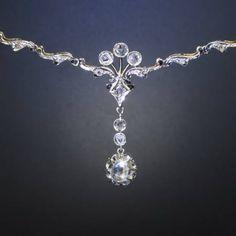 Art deco diamond choker necklace 18kt gold (ca.1930)