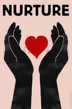 Nurture 24 x 36 Hands and Heart Poster by UmasGuestHouse on Etsy, $50.00