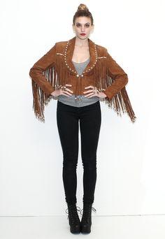 Vintage Hippie Fringe Leather Jacket