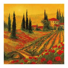 Poppies of Toscano I Prints by Art Fronckowiak at AllPosters.com
