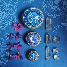 Elspeth McLean giveaway // painted stones -I love the decor! The painted stones, flowers, and the crystals!