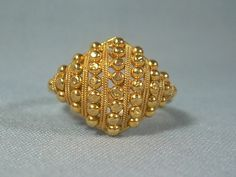 22K BEADED FILIGREE BALLS Ring Size 7-Vintage Solid 22kt Yellow Gold-916 917 au-Edwardian Fancy Orna
