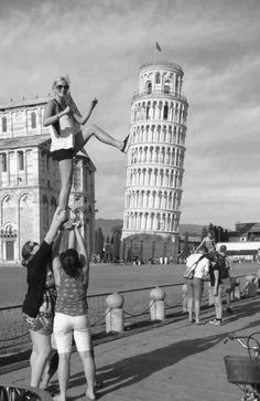 leaning tower of Pisa cheerleading stunting liberty -- can my team compete in italy just so we can do this? :)