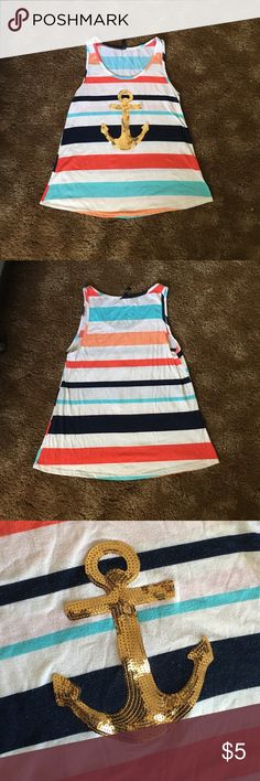 Multicolored sequined anchor tank top Beautiful bright color striped tank top. Also has a sequined anchor. The fabric does stick together when not worn. Perfect for a beach day. Mon ami Tops Tank Tops