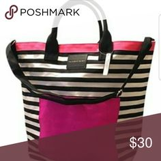 """VS ❤️Striped beach waterproof tote. NEW BAG Limited Edition Summer  Regular Strap & Adjustable Crossbody Strap with Front Pocket Measures Approximately 18.5"""" (L) x 17"""" (H) x 6.5"""" (W) Victoria's Secret Bags Totes"""