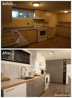 Attrayant A Grungy Basement Kitchen Gets An Income Property Makeover #HGTV