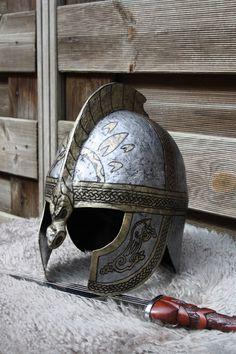 New helmet I've made. It's inspired on the helmet worn by Eomer in Lord of the Rings. This is a fully wearable helmet. Hero Songs, Warrior Paint, New Helmet, Viking Helmet, Light Film, Shield Maiden, Jrr Tolkien, Action Poses, Dark Ages